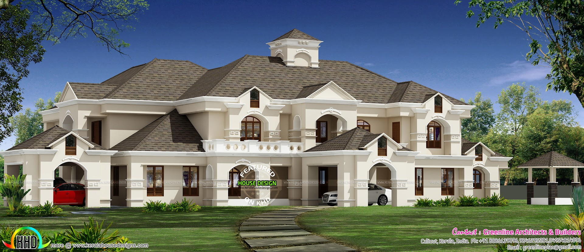 911 sq yd luxury colonial house architecture kerala home for Colonial luxury house plans