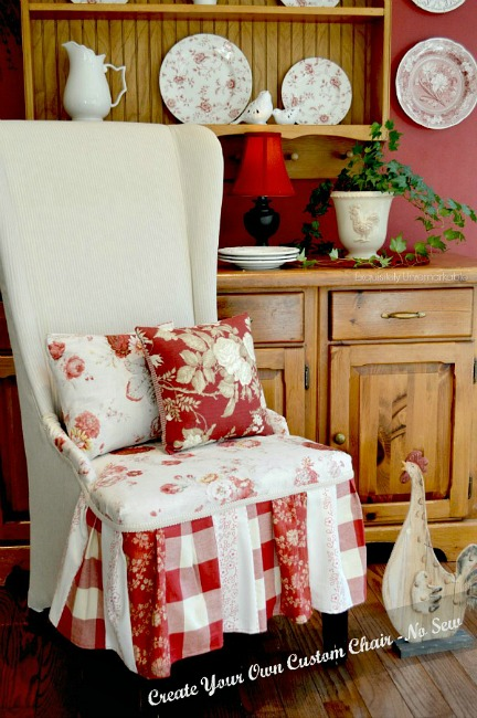 Patchwork chair skirt in country kitchen