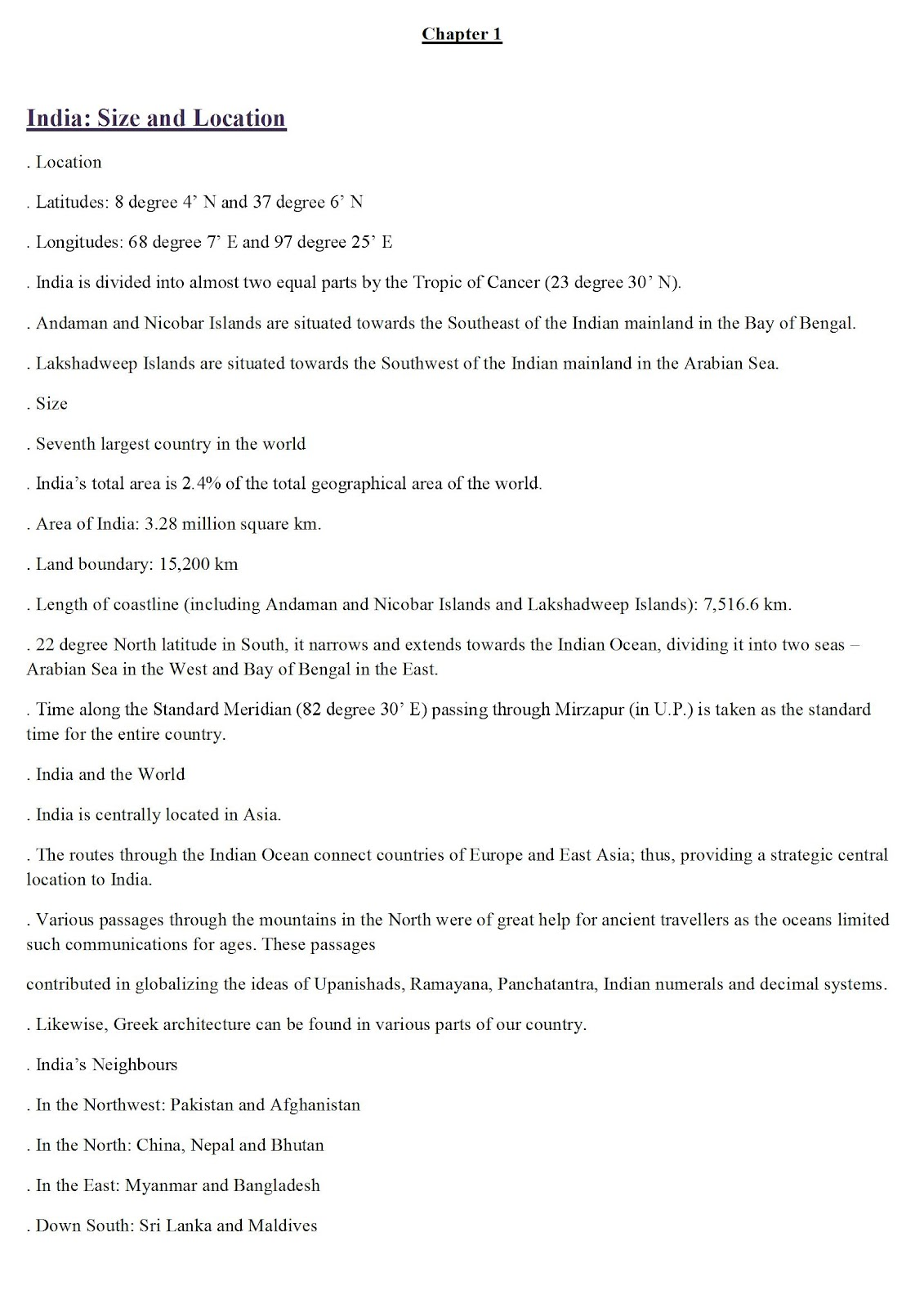 Cbse Class Ix Social Science Revision Notes