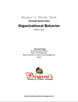 Organizational Behavior Easy Book Free PDF - Internship Report Format