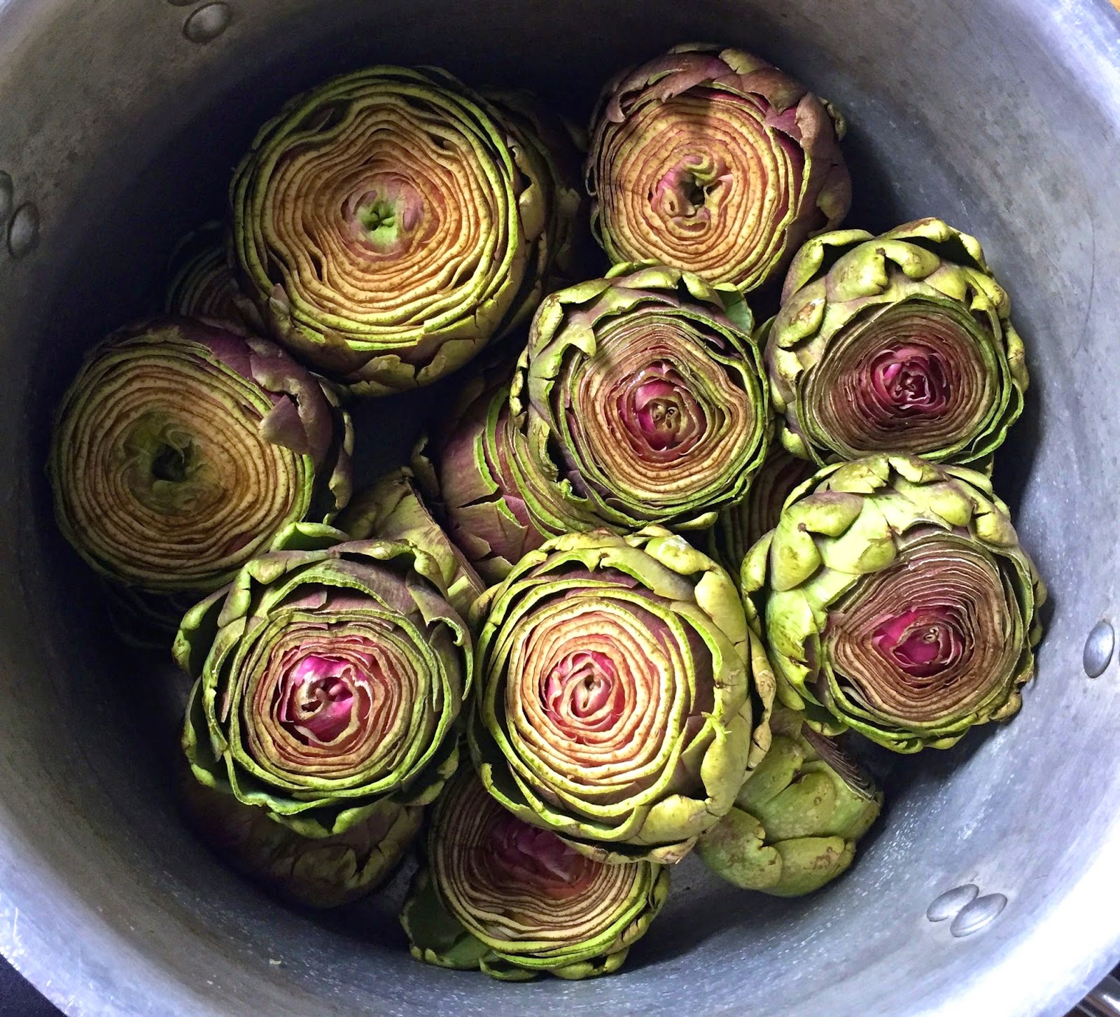 artichokes in the pot