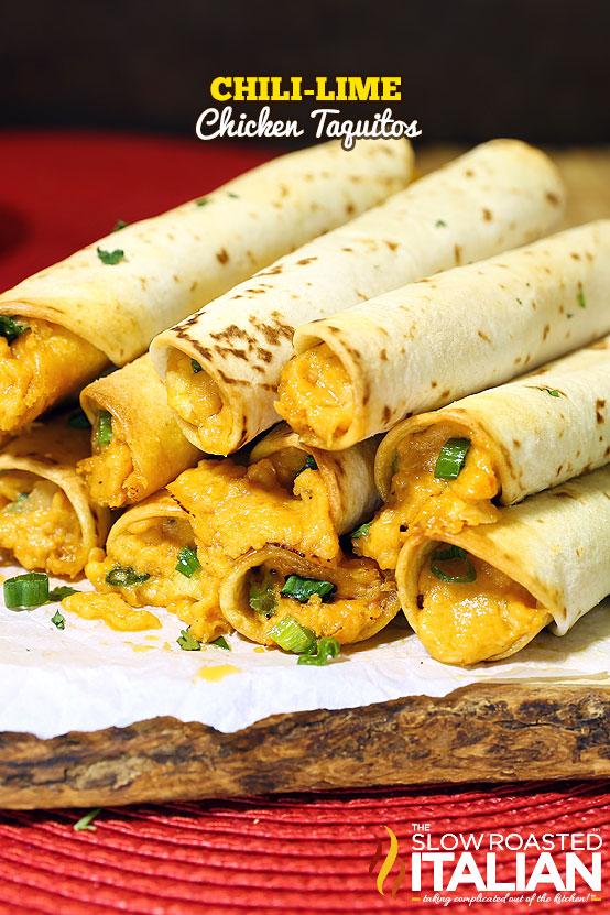http://www.theslowroasteditalian.com/2015/06/chili-lime-chicken-taquitos-recipe.html