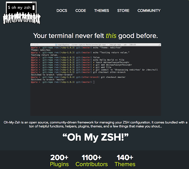 Oh My ZSH homepage