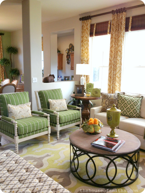 Green and Gold living room decor - cozy living room decorating - house of smiths