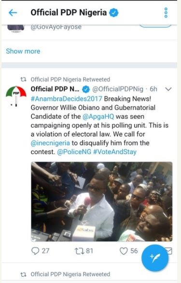 Anambra Election: PDP Calls for the Immediate Disqualification of Obiano