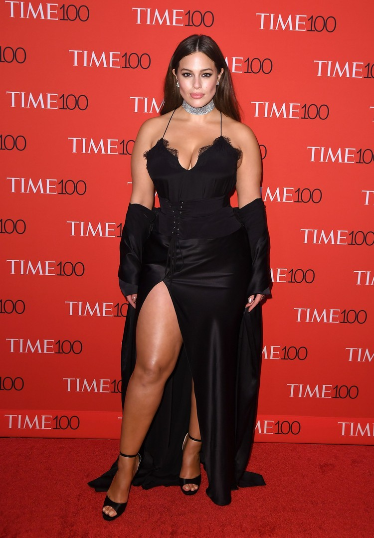 Ashley Graham plus-size model Slit skirt