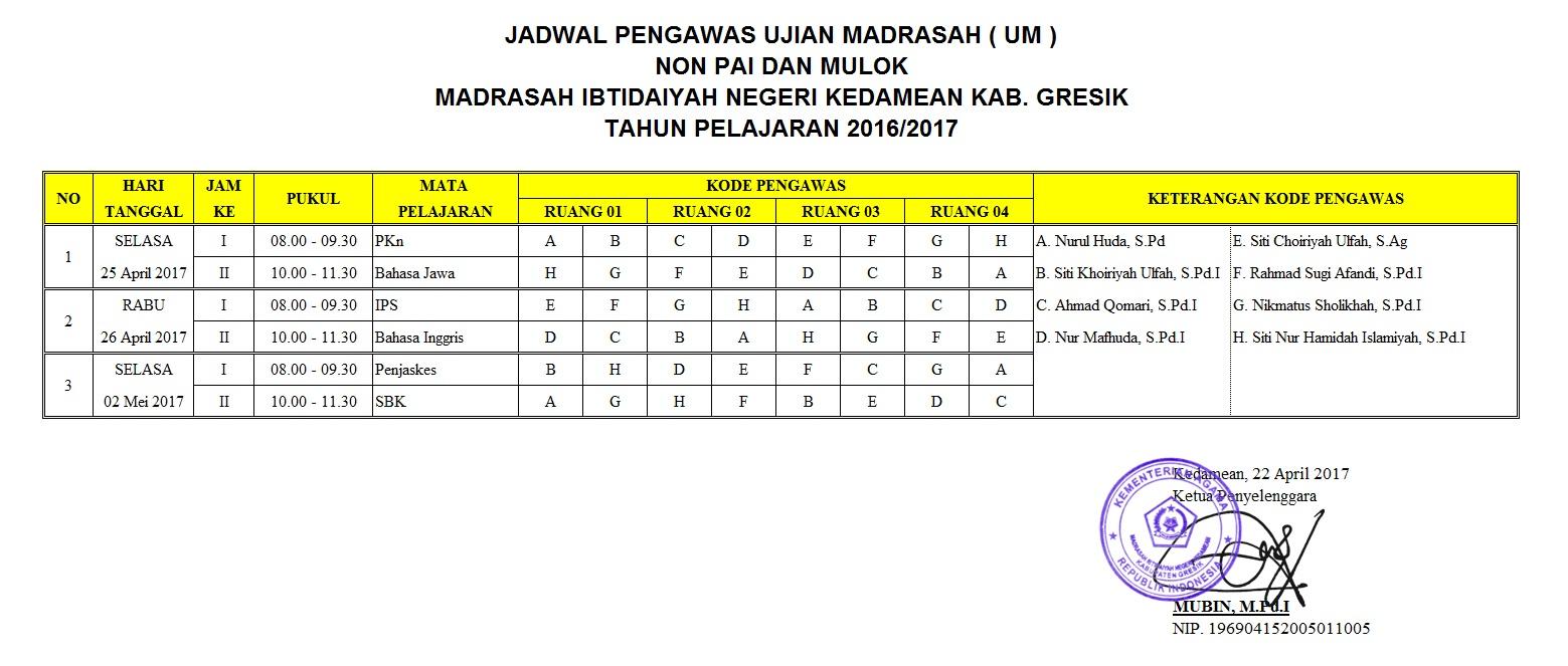 Jadwal Ujian Madrasah (UM) Non-PAI dan MULOK