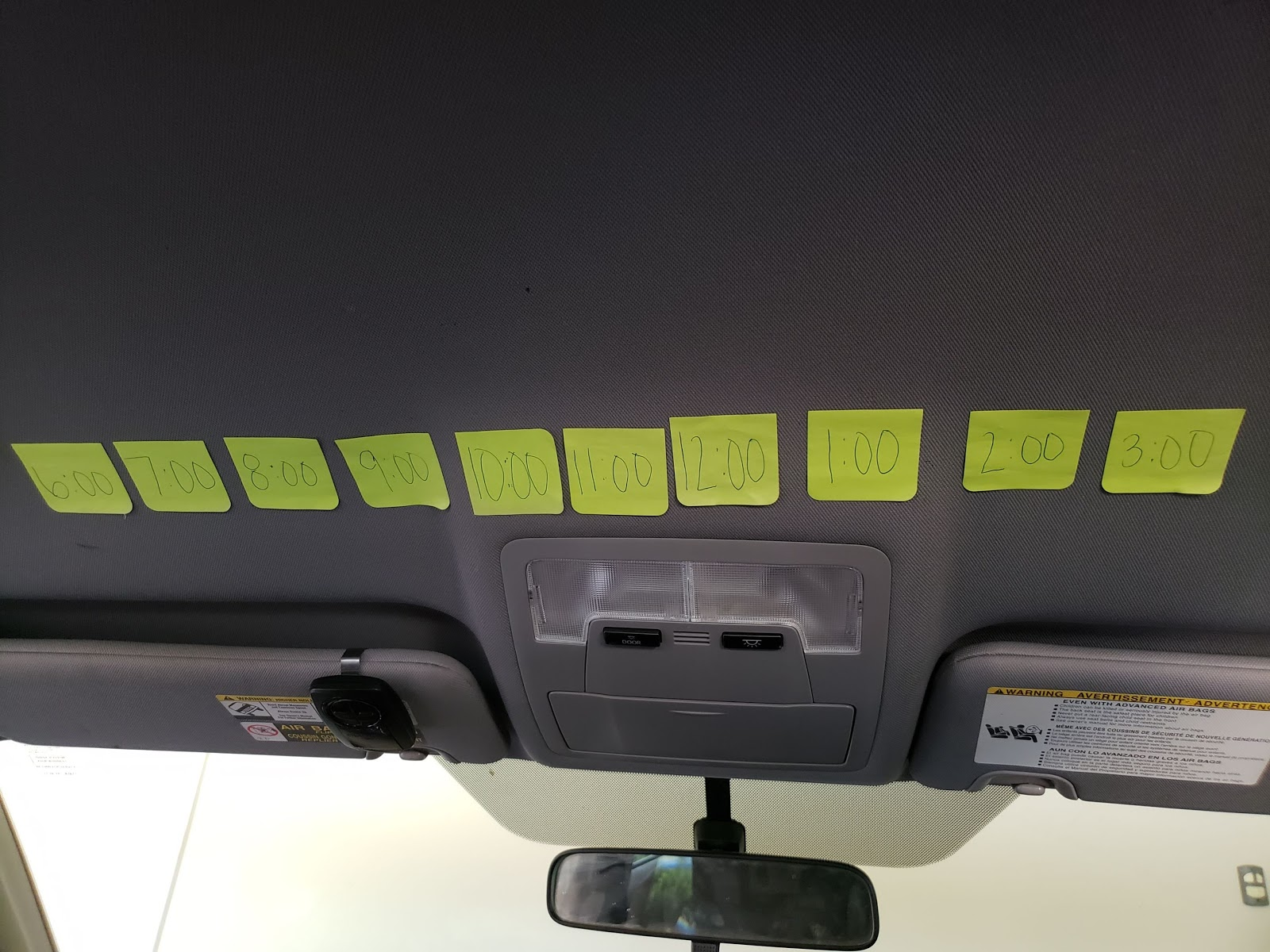 road trip tip, visually counting down the hours with post its