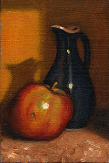 Oil painting of a blue porcelain sauce jug beside a red and green apple.