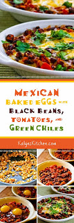 Mexican Baked Eggs with Black Beans, Tomatoes, Green Chiles, and Cilantro found on KalynsKitchen.com