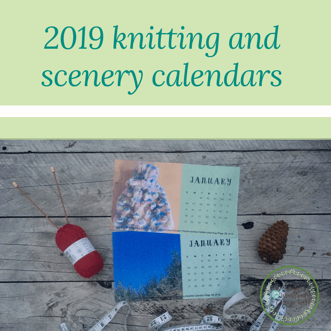 Picture of knitting and scenery calendars