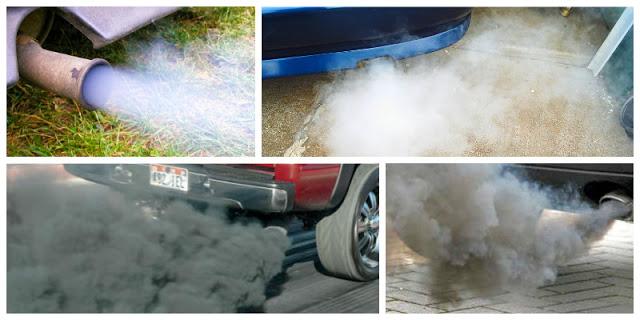 Dizel Motorlu Aracın Egzozundan Siyah, Beyaz ve Mavi Renk Duman Çıkması