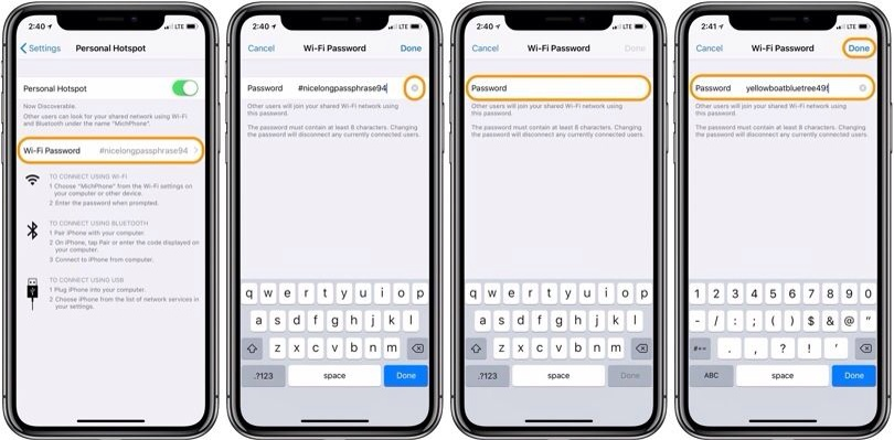 kata sandi personal hotspot iPhone