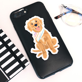 golden retriever marleylilly sticker for your phone