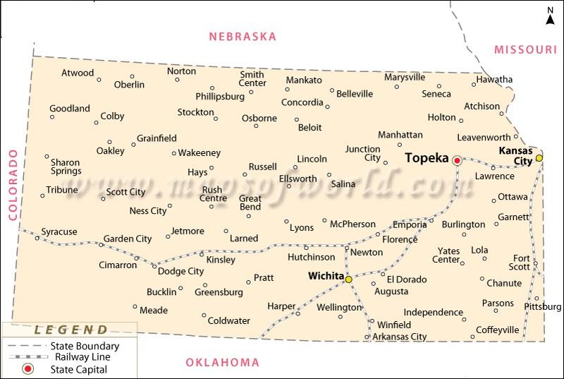 Map Of Kansas State Map Of USA - Railway map usa