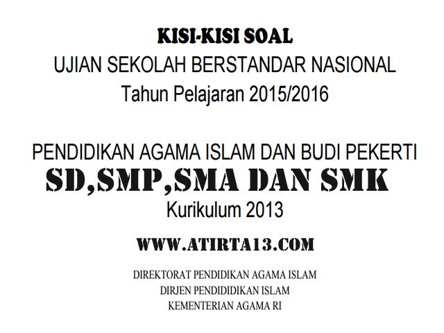 Download Kisi-Kisi Soal USBN PAI dan Budi Pekerti SD, SMP, SMA, SMK Kurikulum 2013