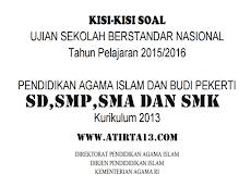 Kisi-Kisi Soal USBN PAI dan Budi Pekerti SD, SMP, SMA, SMK Kurikulum 2013