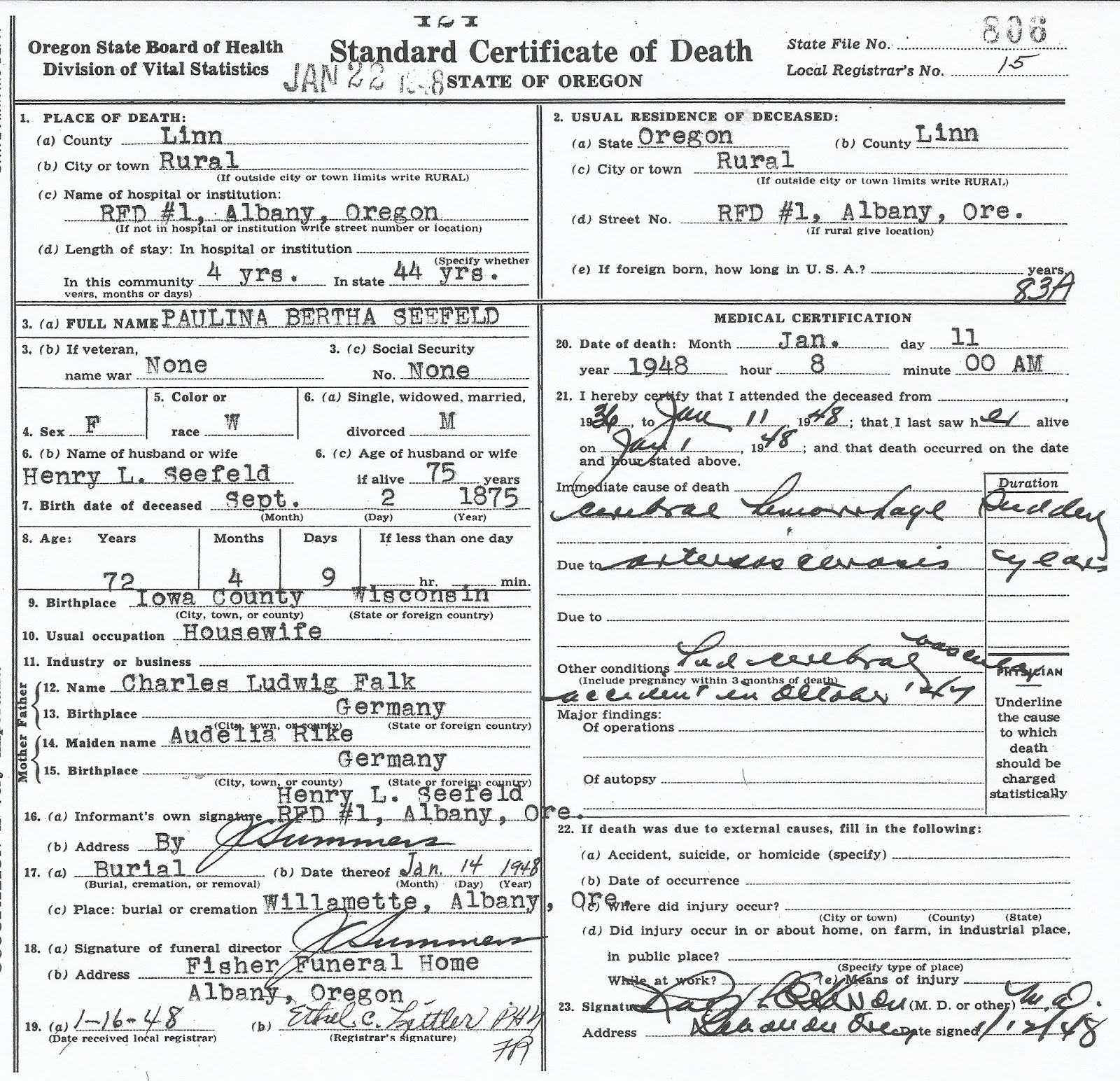 Joannes Genealogy Research Death Certificates From The Past