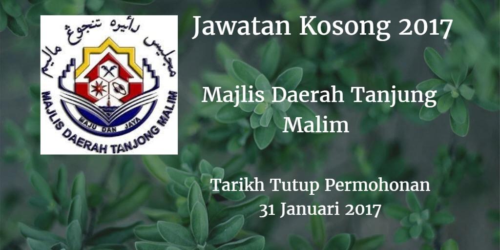 Jawatan Kosong Majlis Daerah Tanjung Malim (MDTM) - 31 Januari 2017