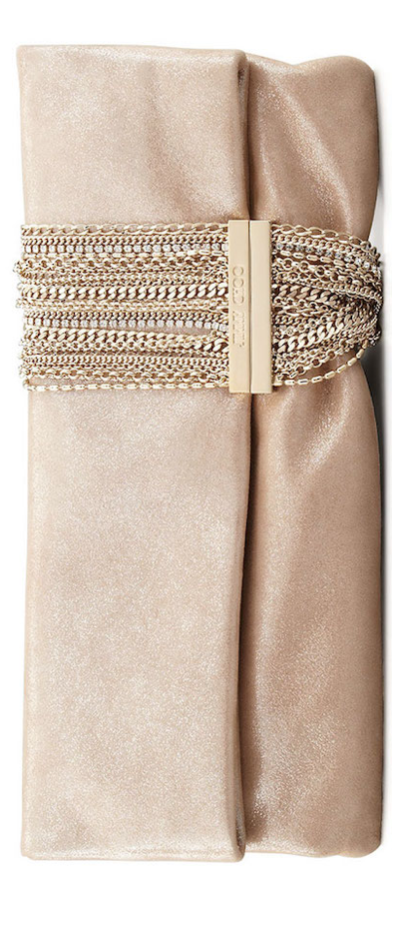 Jimmy Choo Chandra Shimmer Suede Chain Clutch Bag