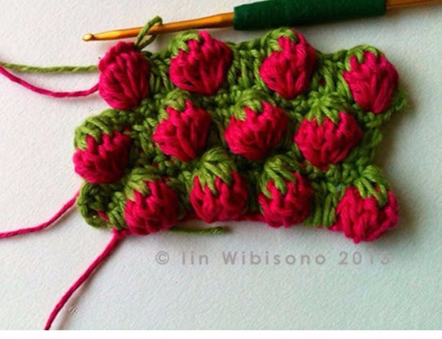 Crochet points with strawberry tutorial with video