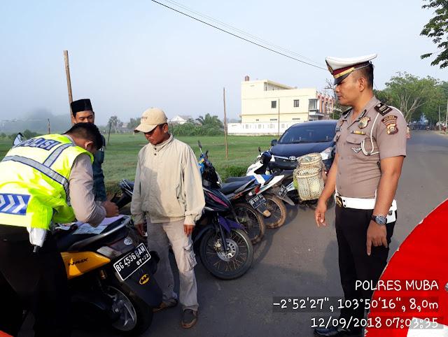 Ini Yang Dilakukan Sat Lantas Polres Muba Antisipasi Kemacetan di Jalan Kapten Arivai