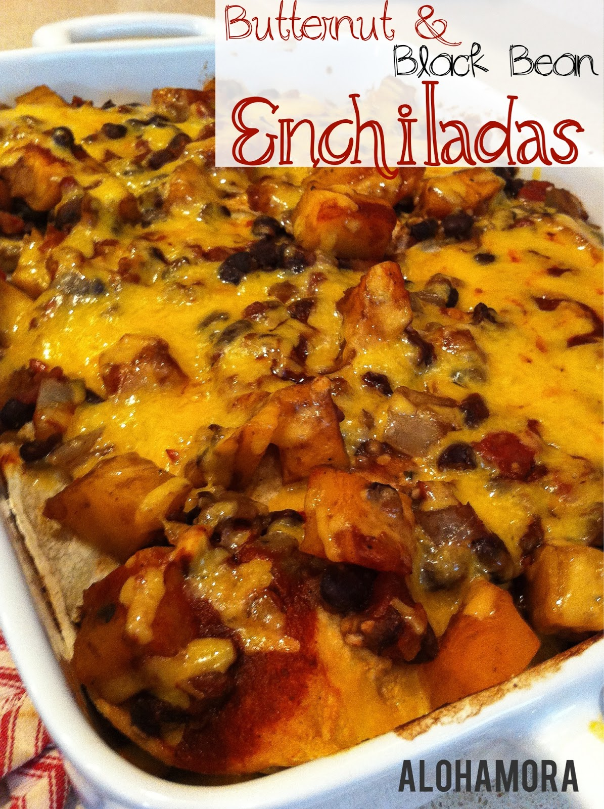 Healthy vegetarian Fall/Autumn dish- Butternut Squash and Black Bean Enchilada Casserole is AMAZINGLY delicious for dinner!  Alohamora Open a Book http://www.alohamoraopenabook.blogspot.com/