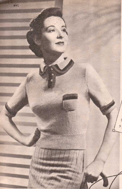 The Vintage Pattern Files: Free 1930s Knitting Pattern - Tricolour Triumph