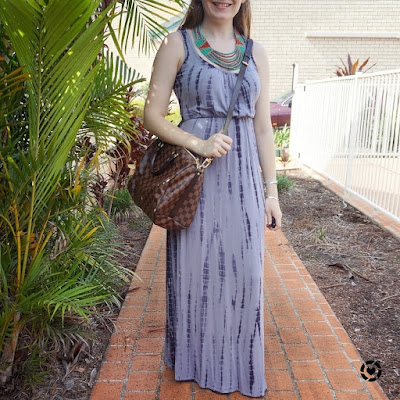 instagram awayfromblue Jeanswest 'Elodie' tie dye grey jersey maxi dress louis vuitton speedy bandouliere