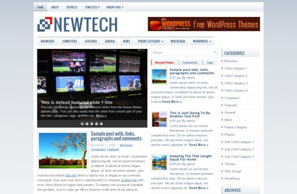 Free Blue News Magazine WordPress Theme Template
