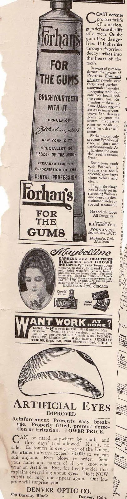 Forhans toothpaste and artificial eyes 1926