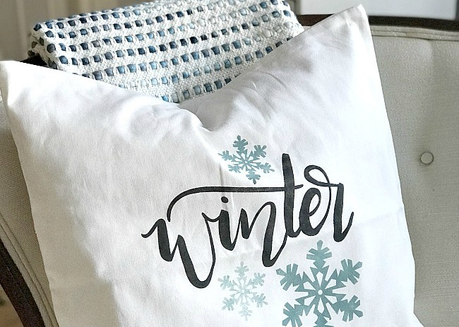 Stenciling a Winter Pillow Cover