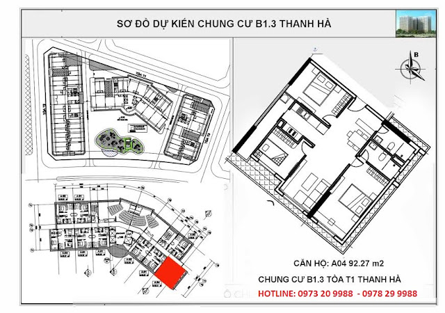Sơ đồ chi tiết căn hộ A04 chung cư T1 Thanh Hà