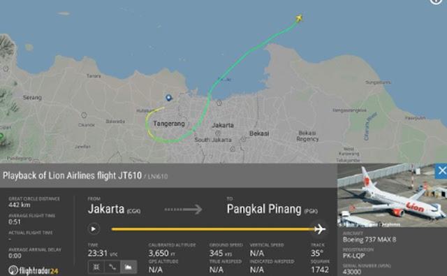 Jatuhnya pesawat Lion Air JT610 tujuan Jakarta-Pangkal Pinang, Senin (29/10/2018) pagi berhasil dideteksi aplikasi mobile sekaligus situs web pelacak penerbangan pesawat di seluruh dunia, Flight Radar 24.