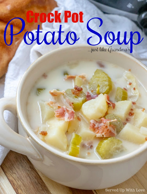 This easy Crock Pot Potato Soup recipe tastes just like grandmas! Smoky bacon lends an amazing flavor  to this comfort food favorite.
