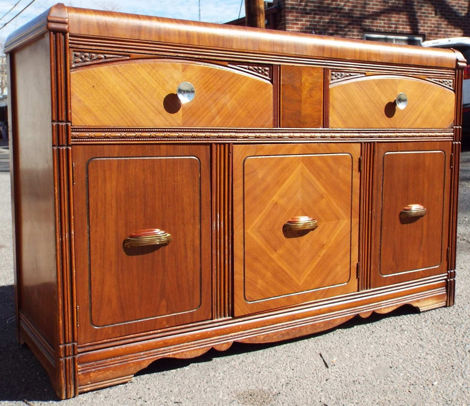 boho chic antique waterfall buffet credenza sold. Black Bedroom Furniture Sets. Home Design Ideas