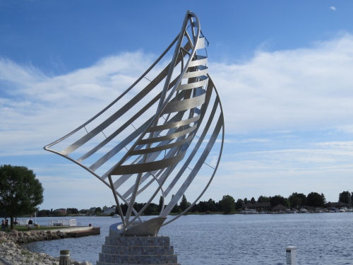 Ludington sailboat sculpture