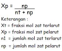 Rumus fraksi mol zat pelarut (Xp)