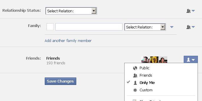 disable relationship status facebook 2011