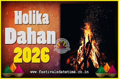 2026 Holika Dahan Puja Date & Time, 2026 Holika Dahan Calendar