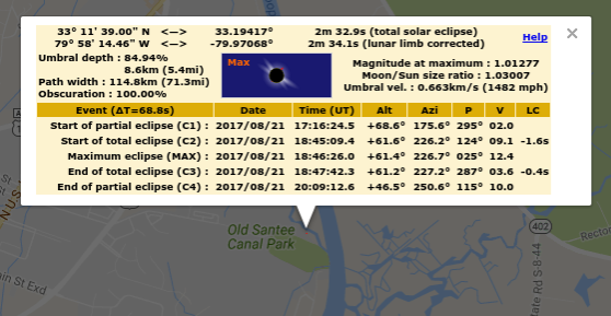 Lowcountry Stargazers How Long Is The Solar Eclipse At My Location