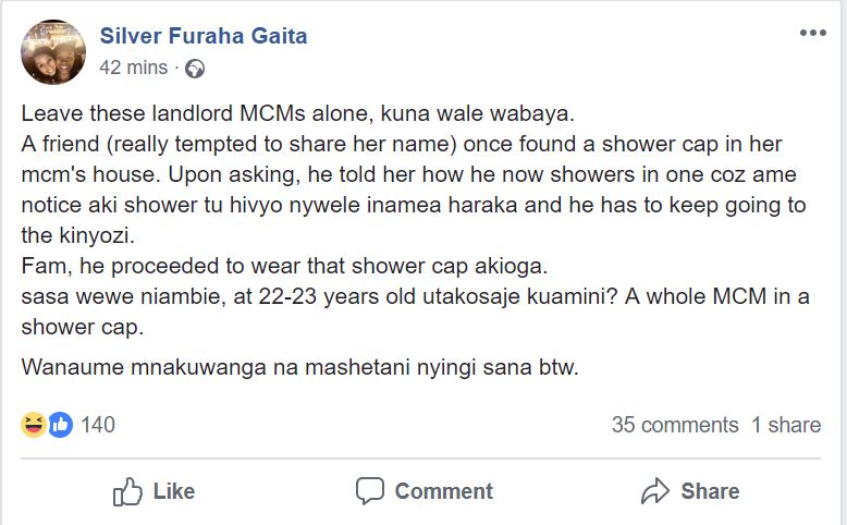 Umama. This Nairobi Man Wears Shower Caps To Save Money