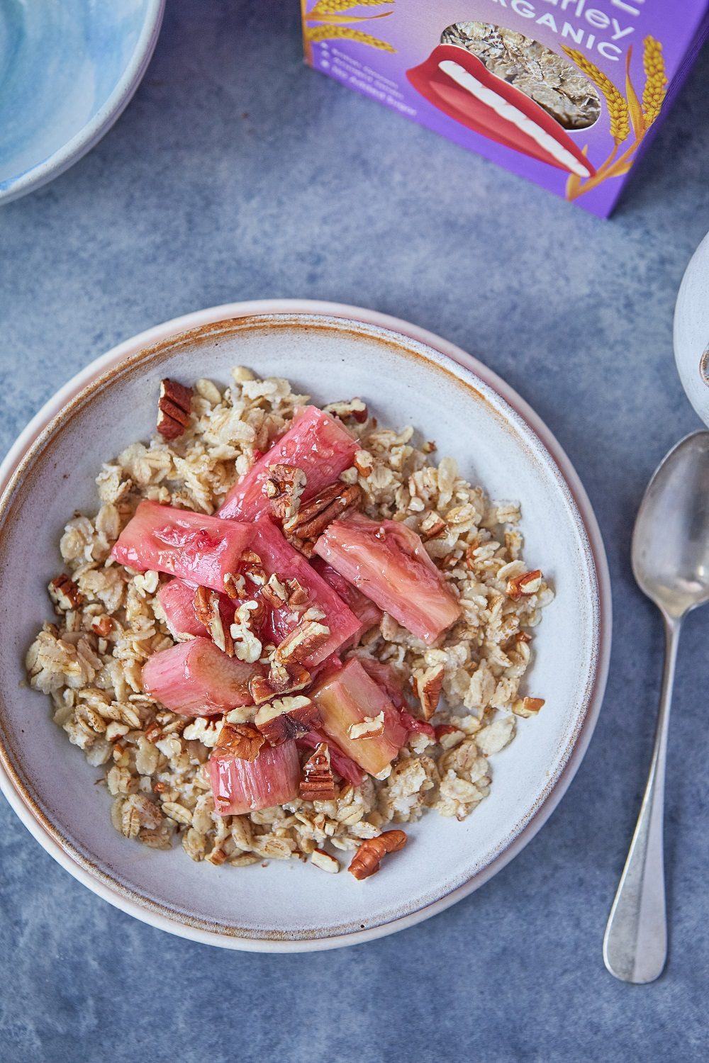 Naked Barley Porridge With Maple Rhubarb And Pecans