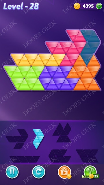Block! Triangle Puzzle Intermediate Level 28 Solution, Cheats, Walkthrough for Android, iPhone, iPad and iPod