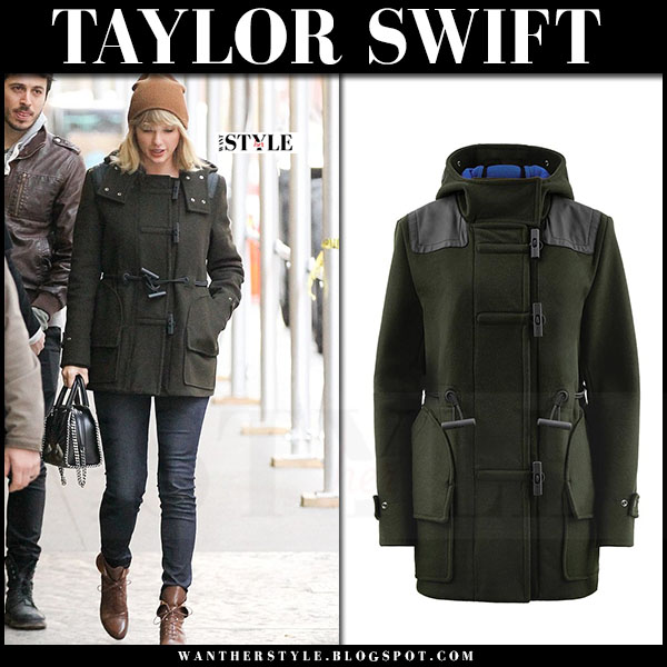 Taylor Swift in green duffel hunter coat and skinny jeans what she wore streetstyle