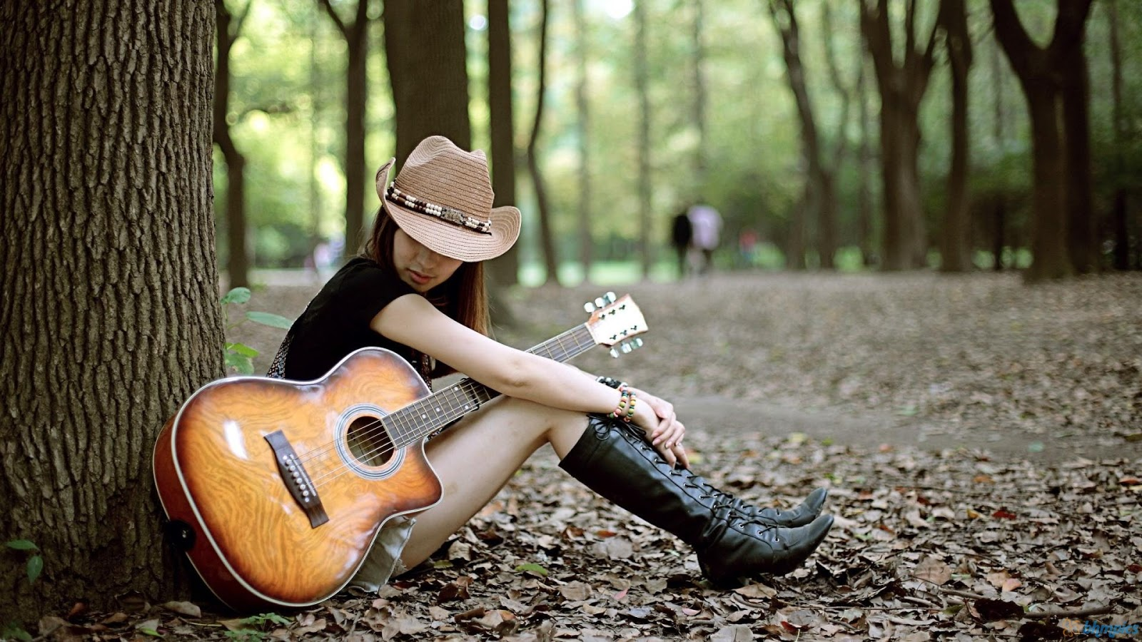 girl with guitar hd wallpapers. Black Bedroom Furniture Sets. Home Design Ideas