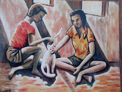Hoy os presento esta pintura de estos niños con us gato
