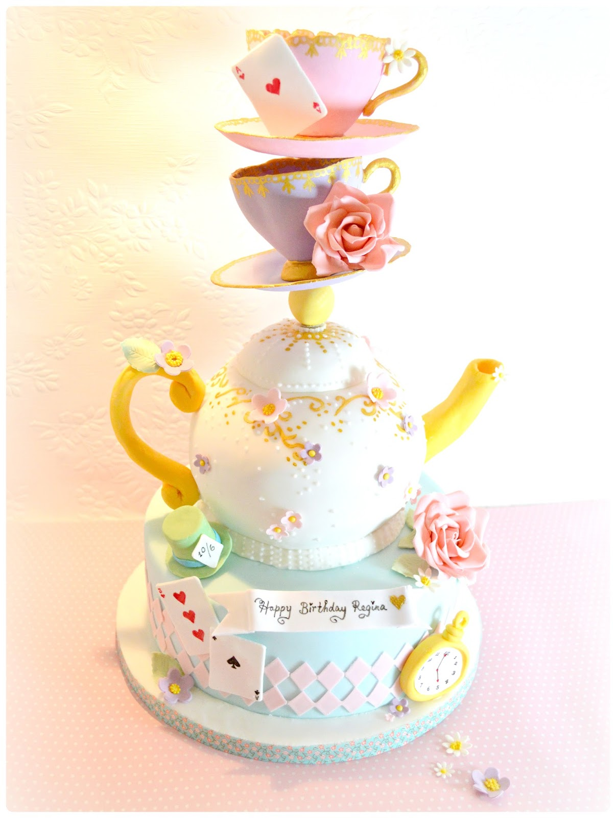 Topsy Turvy Mad Hatter Teapot And Teacups Cake