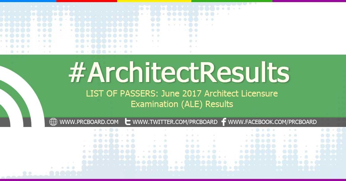LIST OF PASSERS: June 2017 Architect ALE Board Exam ...