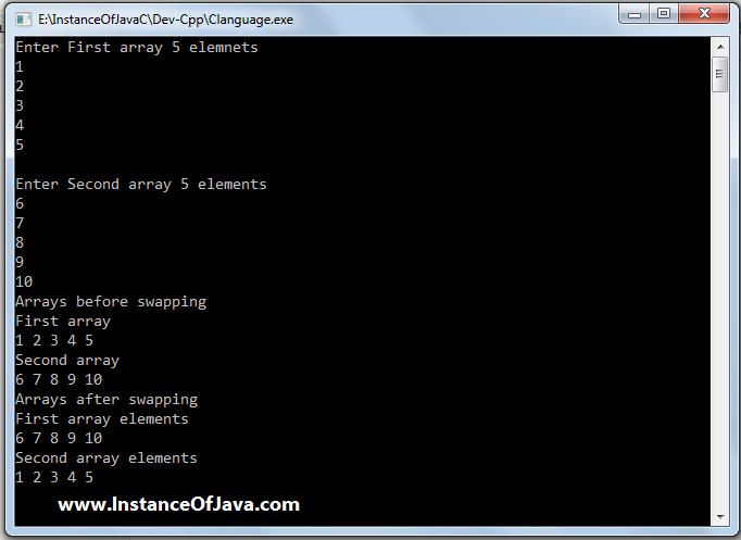 swap arrays in c